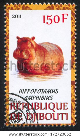 DJIBOUTI - CIRCA 2011: stamp printed by Djibouti, shows hippopotamus, circa 2011 - stock photo