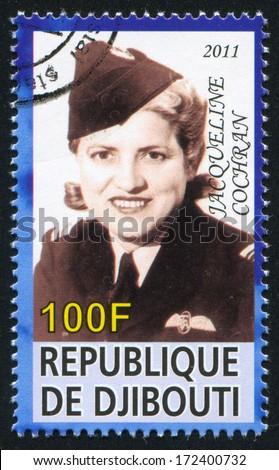 DJIBOUTI - CIRCA 2011: stamp printed by Djibouti, shows Jacqueline Cochran, circa 2011 - stock photo
