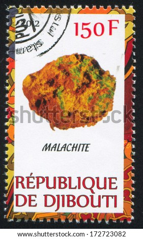 DJIBOUTI - CIRCA 2012: stamp printed by Djibouti, shows Malachite, circa 2012 - stock photo