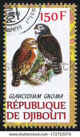 DJIBOUTI - CIRCA 2012: stamp printed by Djibouti, shows owl, circa 2012 - stock photo