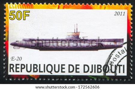 DJIBOUTI - CIRCA 2011: stamp printed by Djibouti, shows submarine, circa 2011 - stock photo
