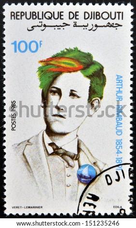 DJIBOUTI - CIRCA 1985: stamp printed in Djibouti shows Arthur Rimbaud, circa 1985  - stock photo