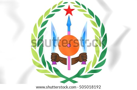 Djibouti Coat of Arms. 3D Illustration.