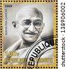 DJIBOUTY - CIRCA 2009: A stamp printed in Djibouty shows Mahatma Gandhi, circa 2009 - stock photo