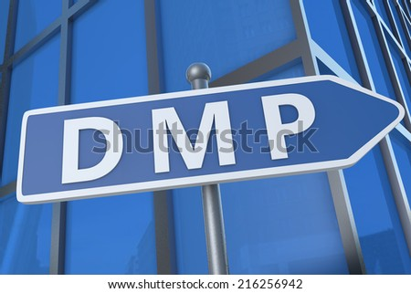 DMP - Debt Management Plan or Data Management Platform - illustration with street sign in front of office building.