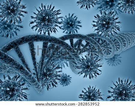 dna and virus 3d rendering - stock photo