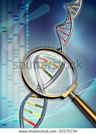 Dna chain examined under a magnifying glass. Digital illustration. - stock photo