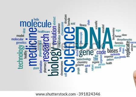 DNA concept word cloud background - stock photo