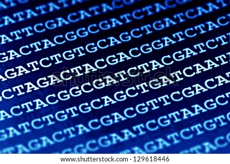 DNA encoding. Text with primary nucleobases. - stock photo