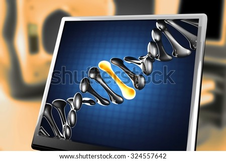 DNA model on blue background at monitor - stock photo
