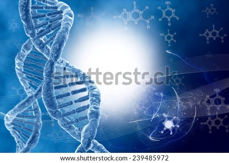 DNA molecules on the natural background - stock photo