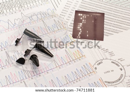 DNA sequence, electrophoresis photo, restriction map, Petri dish and tubes - stock photo