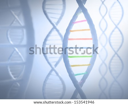 DNA sequences in parallel with a light in the background.