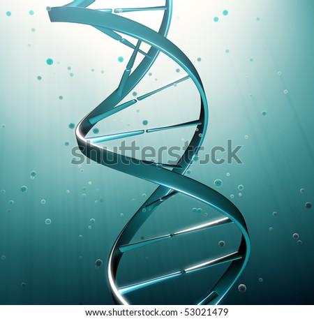 DNA strand iluustration - genetic research - stock photo