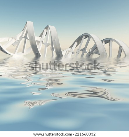 DNA Strand Reflections - stock photo