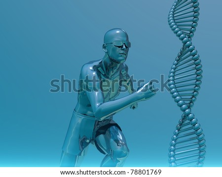 DNA strands and running man  - 3d illustration - stock photo
