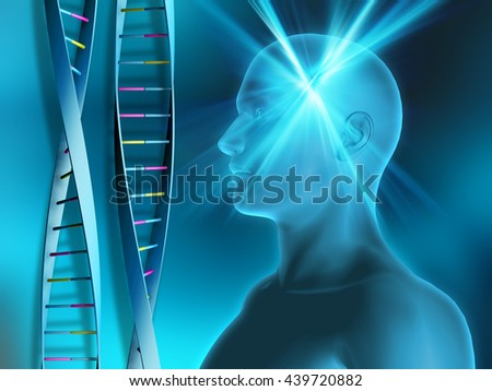 DNA strands on abstract background with male head - stock photo