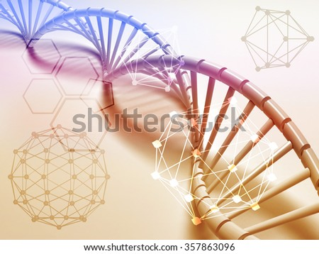 DNA structure abstract concept with Chemical polygon. - stock photo