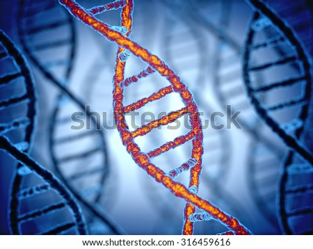 DNA structure 3d background - stock photo