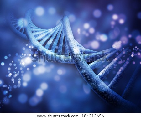 DNA structure in molecules background - stock photo