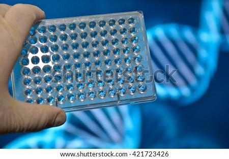 DNA testing in genetic laboratories. Biological scientific equipment. - stock photo