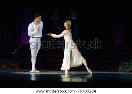 "DNEPROPETROVSK, UKRAINE - APRIL 29: Members of the Dnepropetrovsk Opera and Ballet Theatre perform ""Romeo and Juliet"" on April 29, 2011 in Dnepropetrovsk, Ukraine"