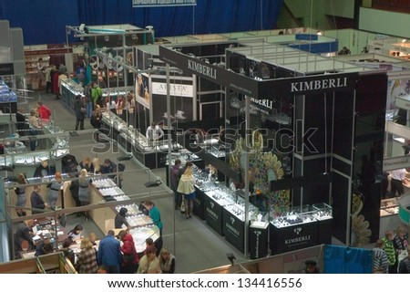 DNEPROPETROVSK, UKRAINE - APRIL 7: Panoramic view of people visiting Jewelry exhibition  �«Dnepr Deluxe Festival�» on April 7, 2013 in Dnepropetrovsk, Ukraine - stock photo