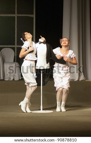 "DNEPROPETROVSK, UKRAINE - DECEMBER 15: Members of the Dnepropetrovsk State Russian Drama Theatre perform "" In search of love"" on December 15, 2011 in Dnepropetrovsk, Ukraine"