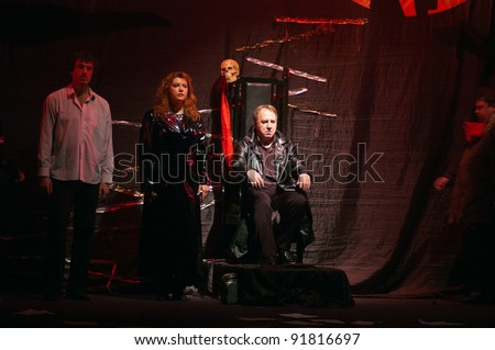 "DNEPROPETROVSK, UKRAINE - DECEMBER 22: Members of the Moscow Independent Theatre perform ""The Master and Margarita"" on December 22, 2011 in Dnepropetrovsk, Ukraine"