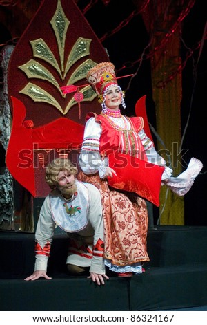 "DNEPROPETROVSK, UKRAINE - JANUARY 9: Members of the Dnepropetrovsk State Russian Drama Theatre perform ""Kashey Immortal?"" on January 9, 2011 in Dnepropetrovsk, Ukraine"