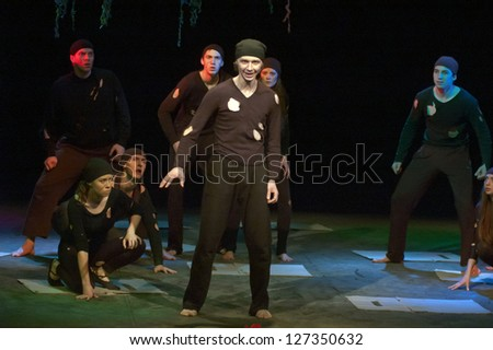 "DNEPROPETROVSK, UKRAINE - JANUARY 20: Members of the Dnepropetrovsk Youth Theatre ""Verim"" perform  ""On the way to the..."" on January 20, 2013 in Dnepropetrovsk, Ukraine"