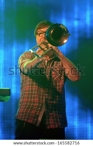 DNEPROPETROVSK, UKRAINE - JULY 13: Members of the rock group LENINGRAD perform at the Festival THE BEST CITY.UA  on July 13, 2013 in Dnepropetrovsk, Ukraine - stock photo