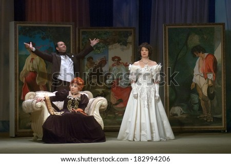 DNEPROPETROVSK, UKRAINE - MARCH 21: Members of the Dnepropetrovsk State Russian Drama Theatre perform OTHER SPIRIT on March 21, 2014 in Dnepropetrovsk, Ukraine - stock photo