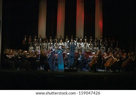 DNEPROPETROVSK, UKRAINE - MAY 27: Choir DUMKA and Symphonic Orchestra - main conductor Natalia Ponomarchuk perform Verdi's REQUIEM on May 27, 2013 in Dnepropetrovsk, Ukraine