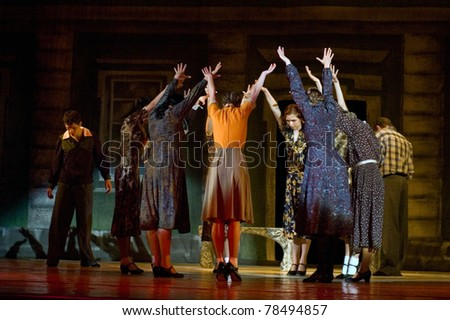 "DNEPROPETROVSK, UKRAINE - MAY 12: Members of the Dnepropetrovsk State Opera and Ballet Theatre perform ""This Tango in June"" on May 12, 2011 in Dnepropetrovsk, Ukraine"