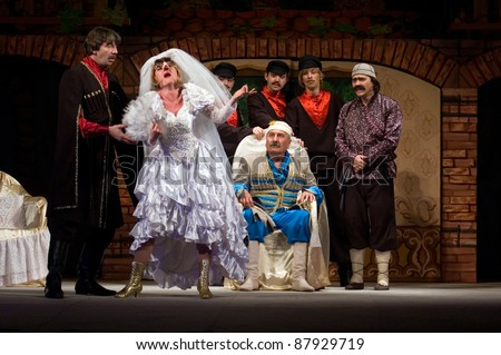 "DNEPROPETROVSK, UKRAINE - MAY 22: Members of the Dnepropetrovsk State Russian Drama Theatre perform "" Hanuma "" on May 22, 2009 in Dnepropetrovsk, Ukraine"