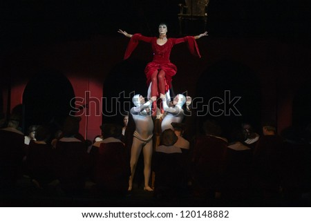 "DNEPROPETROVSK, UKRAINE - NOVEMBER 27: Members of the Dnepropetrovsk State Opera and Ballet Theatre perform ""Carmina Burana"" on November 27, 2012 in Dnepropetrovsk, Ukraine"