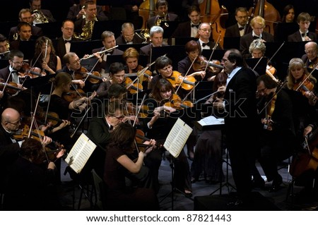 DNEPROPETROVSK, UKRAINE-OCTOBER 31: Moscow State Academic Symphony Orchestra - main conductor Pavel Kogan performed music of  Beethoven on October 31,2011 in Dnepropetrovsk, Ukraine