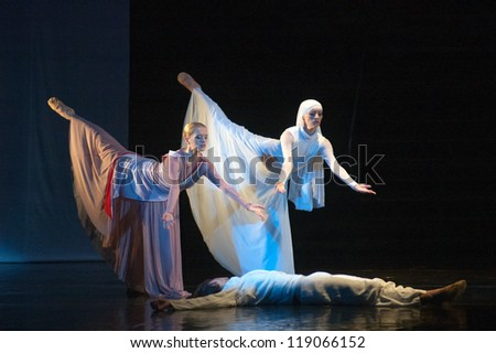 "DNEPROPETROVSK, UKRAINE - SEPTEMBER 28: Members of the Dnepropetrovsk State Opera and Ballet Theatre perform ""Jesus"" on September 28, 2012 in Dnepropetrovsk, Ukraine"
