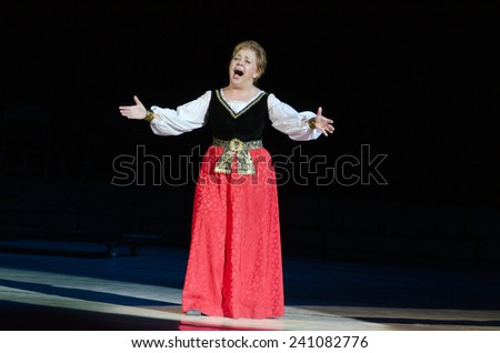 DNIPROPETROVSK, UKRAINE - DECEMBER 26: Famous singer Zoya Kaipova performs at the State Opera and Ballet Theatre on December 26, 2014 in Dnipropetrovsk, Ukraine - stock photo