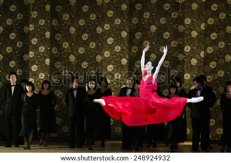 DNIPROPETROVSK, UKRAINE - FEBRUARY 1: Famous dancer Ekatrina Shmigelsky  performs LADY WITH CAMELLIAS at State Opera and Ballet Theatre on February 1, 2015 in Dnipropetrovsk, Ukraine. - stock photo