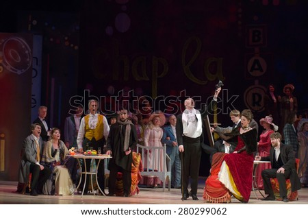 DNIPROPETROVSK, UKRAINE - MAY 21: Members of the Dnipropetrovsk State Opera and Ballet Theatre perform BOHEMIA on May 21, 2015 in Dnipropetrovsk, Ukraine - stock photo
