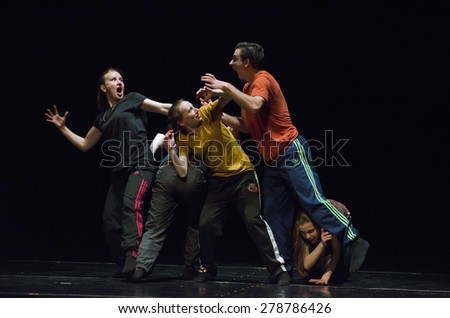 DNIPROPETROVSK, UKRAINE - MAY 16: Unidentified dancers perform WOE FROM WIT at State Opera and Ballet Theatre on May 16, 2015 in Dnipropetrovsk, Ukraine - stock photo