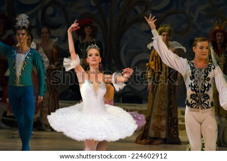 DNIPROPETROVSK, UKRAINE - OCTOBER 18: Sleeping beauty ballet performed by Dnipropetrovsk Opera and Ballet Theatre ballet on October 18, 2014 in Dnipropetrovsk, Ukraine. - stock photo