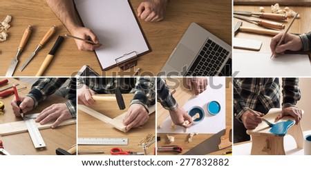 Do it yourself and home improvement concept collage with carpenter drafting a project and working with tools and wood - stock photo