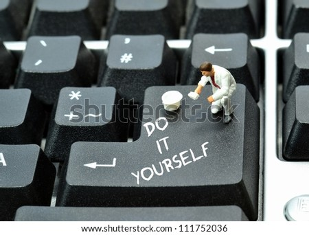 Do it yourself on keyboard return enter key button - stock photo