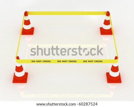 Do not cross police line - with road cone - stock photo