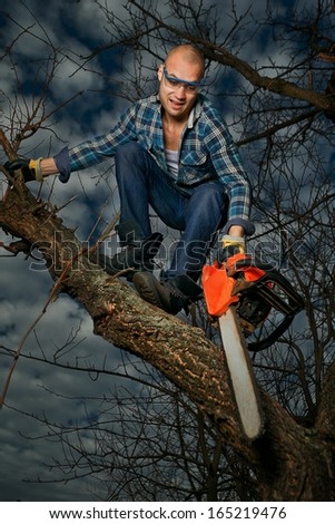 Do not cut the bough you are sitting on - stock photo
