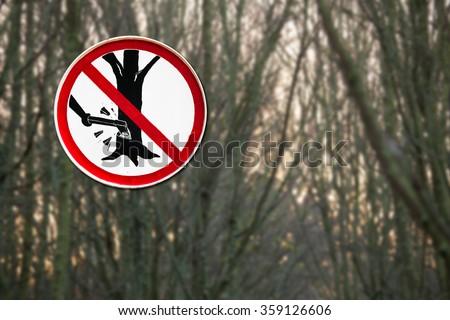 Do not cut tree sign - stock photo