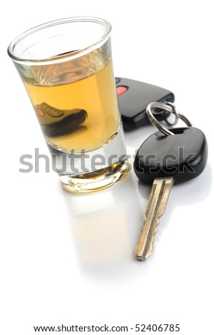 Do not drink and drive - glass of liquor and car keys on white - stock photo